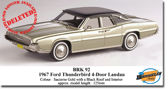Brooklin Brk 92 1967 Ford Thunderbird 4 Door Landau 1 43 Scale