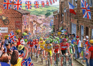 Tour de france cyclists riding through a yorkshire village named Hawarth with crowds either side of the street.