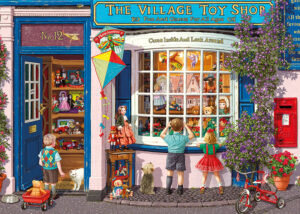 Two young children on a trip to the local shops with their mother gaze with wonder into the window of the village toy shop.