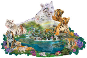 white tiger mother with baby tiger cubs over a pond with waterfalls and other jungle animals