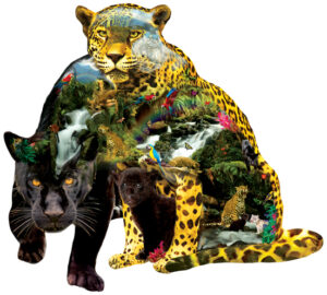 Shaped image of Black panther, Jaguars, cubs, white tiger, waterfalls, mountains, jungle