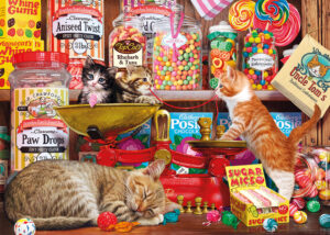 A group of curious kittens find their way into a sweet shop and create a mess playing with the confectionery.
