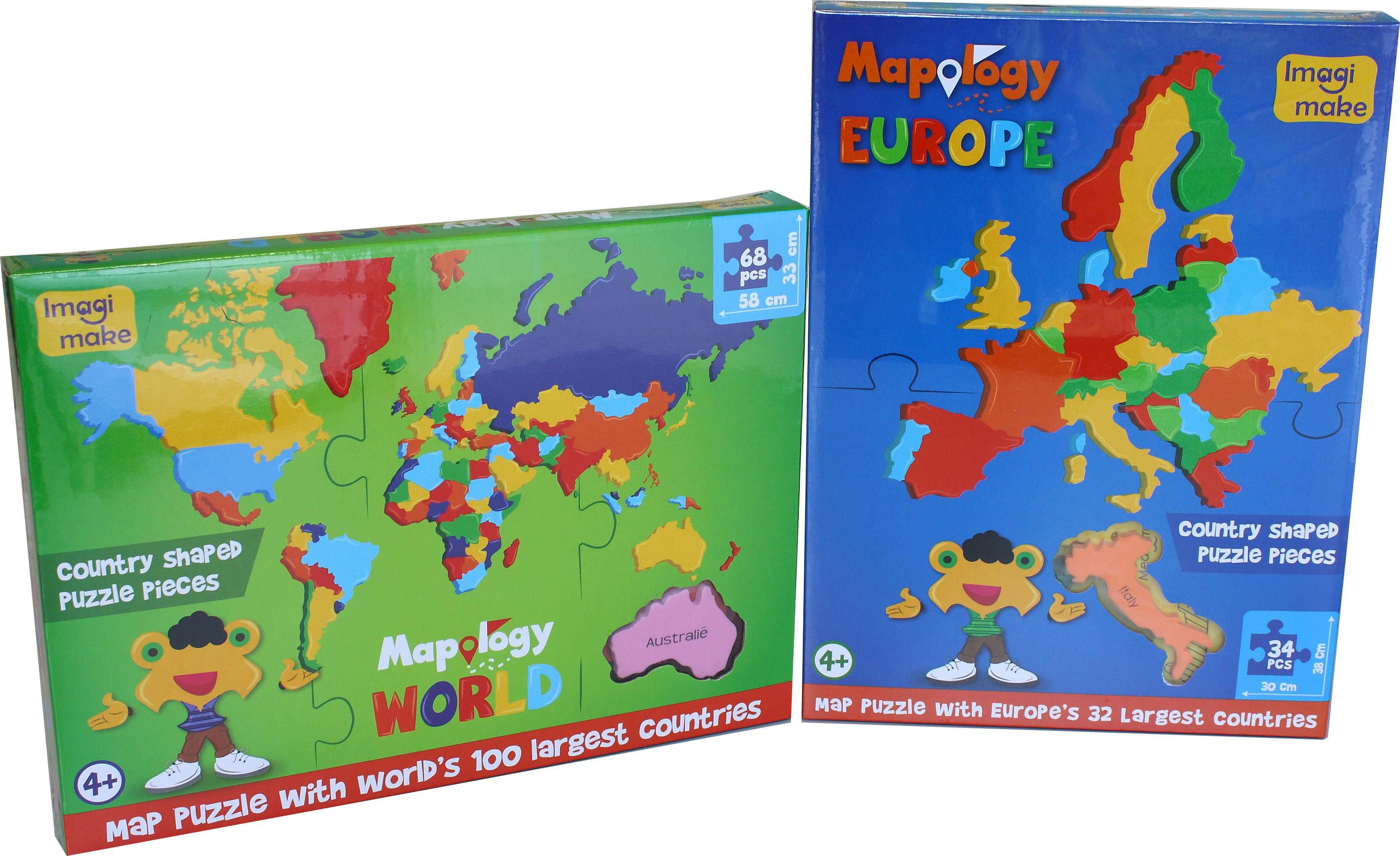 Imagi - Mapology World - 68 Foam Pieces (Country Shaped Pieces) (Box  Includes World Only)