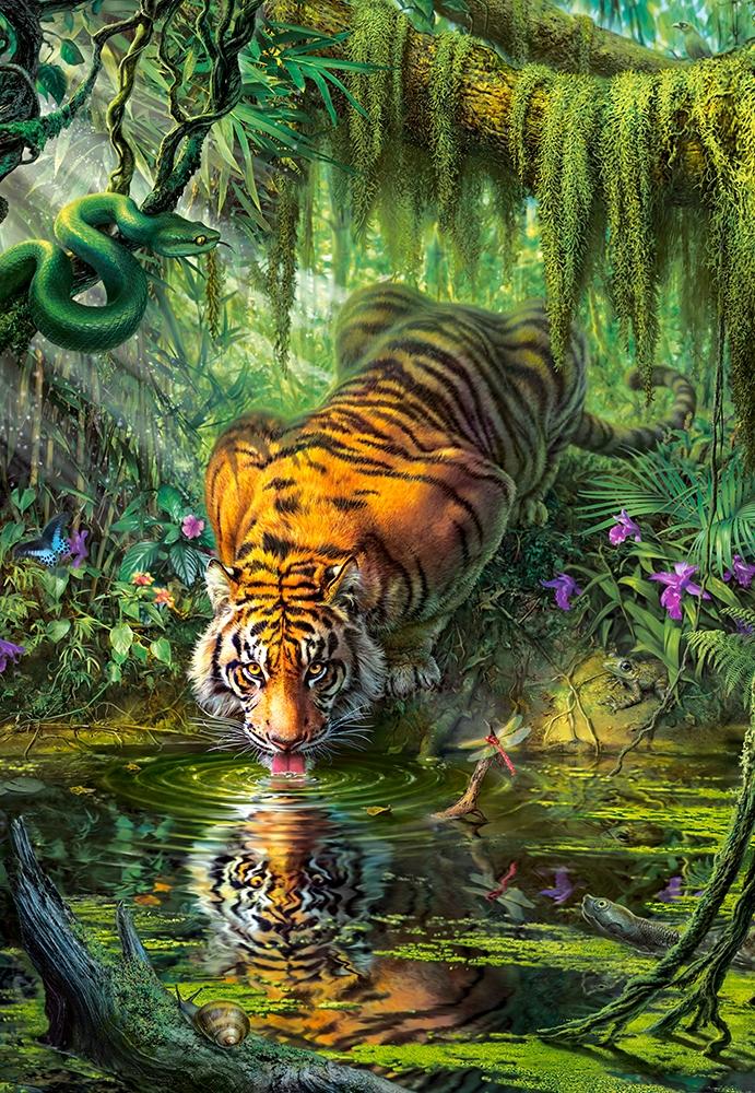 castorland 103935 tiger in the jungle mark fredrickson 1000